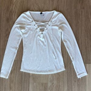 H&M Lace-up Ribbed Long Sleeve